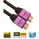 Câble plaqué par or à grande vitesse de 1080P/3D/4k/60Hz/18gbps HDMI 2.0 avec l'Ethernet