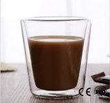 Dupla camada de vidro transparente caneca de café xícara com pega a resistência ao calor chávena de chá Leite