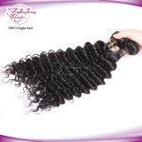 Onda profundo preto natural indiano humano Remy Hair