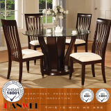 Glass Top Birch Mesa de jantar e cadeira Sala de jantar Mobília de madeira