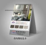 Figura differente del calendario di scrittorio con la scheda di colore della vernice