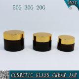 chocs de maçon cosmétiques en verre ambres de conteneur de 20ml 30ml 50ml avec le chapeau d'or