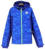 SS17 Novo Design Atacado Custom impresso camuflagem Men Softshel Bondedl zip através capuz Hoodies Jacket