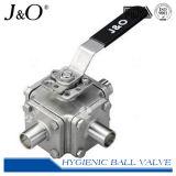 Válvula de esfera sanitária super da braçadeira 3ways do aço inoxidável