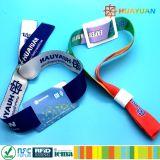 Празднество нот снабжает браслет билетами ткани NTAG216 RFID NFC сплетенный wristband