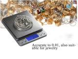 escala do bolso do balanço da jóia de 500g x de 0.01g mini Digitas