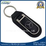 Keyring del cuero genuino de la insignia del coche con la pieza de metal