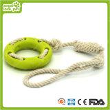 Anel de TPR com o produto da mastigação do cão de brinquedos da corda do algodão