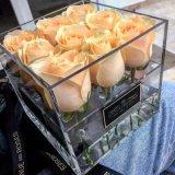 Rectángulo de acrílico hecho a mano de lujo de la flor de Rose para 9 rosas