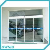 Portello di vetro di scivolamento automatico della lega di Alunm, doppio aperto, per l'edificio per uffici