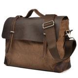 Weinlese-Rindleder-Leder eingewachsene Segeltuch-Mann-Form-Handtasche (RS-2167B)