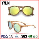 O costume de Ynjn cinzela óculos de sol de madeira redondos do logotipo