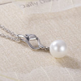 Le donne multano 925 monili dell'argento sterlina disegno unico collane autentiche del pendente della perla & del tessuto
