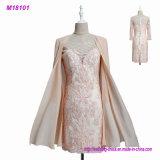 Мать 2017 шнурков платьев невесты с мантиями партии вечера шифоновых женщин Applique втулок куртки 3/4 официально