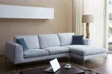 Ls0606クロム足を搭載する豪華なファブリックコーナーのソファー