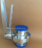 Manual sanitárias a Válvula Borboleta com pega de aço inoxidável