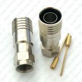 Adaptador masculino del RF del conector de cable coaxial del prensado del maleficio Rg11 F