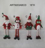 Pompom Legged Christmas Decoration Figurine-4asst