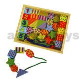 Cordon de laçage jouet en bois en boîte en bois (80168)