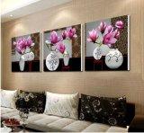 L'arte moderna della parete delle 3 parti ha stampato i fiori della pittura che verniciano la maschera di arte incorniciata decorazione della stanza verniciata sulla decorazione Mc-233 della casa della tela di canapa