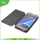 PUのSamsung S6のためのカードスロットの立場カバーが付いている革札入れの箱