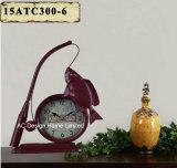Orologio del piano d'appoggio del metallo di figura di Fishman del nero dell'oggetto d'antiquariato della decorazione dell'annata
