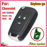 Sleutel van de Tik van Keyless de Verre Slimme voor Chevrolet met 3 het blad van de Spaander Hu100 van Knopen Ask433MHz ID46