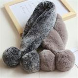 品質の最もよい価格ののどのウサギのキツネの毛皮のスカーフの女性女子学生の偽造品の毛皮のスカーフ