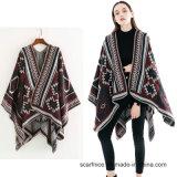 Модная женская осенью зимой Без шарфа одеяло геометрической женщин теплый кашемир Poncho и плащи длинных толстых Шаль