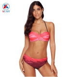 Gradient rouge Imprimer Halter Bandeau femmes Bikini maillot de bain en nylon
