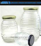 Runde Streifen-Glasflasche für Honig, Gewürz, Gelee