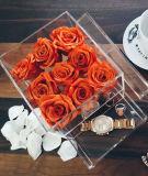 Kundenspezifische Qualitäts-runder Blumen-acrylsauerkasten mit Fach