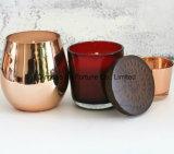 Vela de cobre del vidrio del oro de Rose del tarro de las ventas calientes