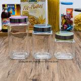 Do armazenamento por atacado do espaço livre do quadrado do alimento da fábrica frasco de vidro (100097)