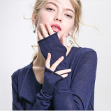 Dame-runder Stutzen-lange Pullover-Viskose-Strickjacke