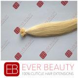 インドの平らな先端100%の人間の毛髪の拡張