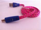 Cabo do USB de Flalt da trança de nylon da tela micro