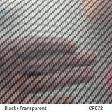 Kingtop 1m Largeur Carbon Fiber Design Film hydrographique Film d'impression hydrofuge Wdf072-2 Transparent + Argent