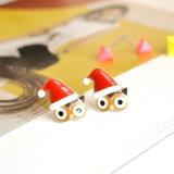 Les boucles d'oreille de goujon de chapeau de Noël de rivet de grand dos de hibou d'émail de couleur de sucrerie ont placé pour des femmes