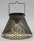 Antique Metal redondo Linterna de camping con LED Bombilla