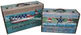 PU Leather/MDF 나무로 되는 저장 여행 가방 상자를 인쇄하는 바닷가 디자인에 S/2 장식적인 고대 포도 수확