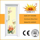 Intérieur en aluminium enduit de portes en verre coloré de modèle chinois (SC-AAD043)