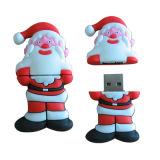 Unidade flash USB do pai Natal, feita de material de borracha