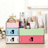 Caixa de armazenamento cosmética Desktop creativa quente, caixa de armazenamento de madeira por atacado de DIY