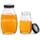 Jarra de cristal de forma Popular para la miel, el almacenamiento de botellas de vidrio
