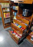 2017 armarios de cocina de madera sólida de lujo de la puerta de la coctelera de la cocina