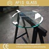 "3/8 "" de vidro Tempered Tabletop redondo desobstruído com borda chanfrada"