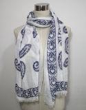 Senhora Fashion Paisley Impresso Poliéster Algodão Voile lenço de seda (YKY1032)