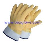 Желтый латекс рабочие перчатки, манжеты для измерения над