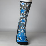 Печатание сублимации голубых звезд Socks таможня